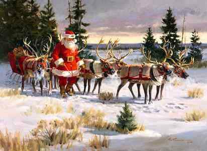 Babbo Natale Con Le Renne Immagini.La Slitta Di Babbo Natale